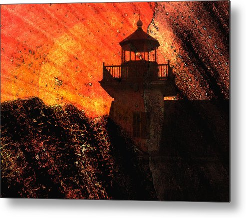 Lighthouse Metal Print featuring the photograph Lighthouse Sunrise by Natalie Bollinger
