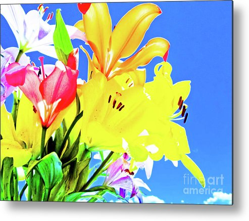 Lilies Metal Print featuring the photograph Lillies In Praise by Maricela Nunez