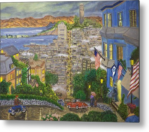 Landscape Metal Print featuring the painting Lombard Street by Charles Vaughn