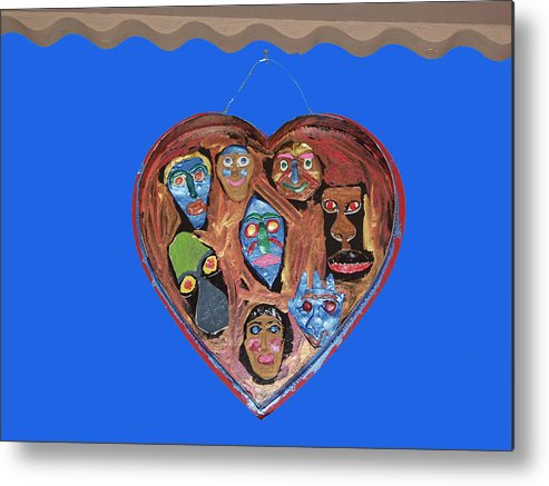 Lovable Faces Metal Print featuring the mixed media Lovable Funny Faces by Betty Roberts