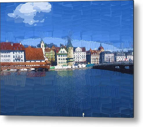 Landscape Metal Print featuring the photograph Luzern Lake Front by Chuck Shafer