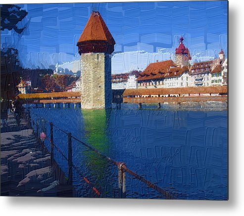 Landscape Metal Print featuring the photograph Luzern Tower by Chuck Shafer