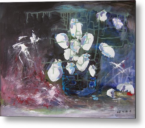 Abstract Paintings Metal Print featuring the painting Magnolia by Seon-Jeong Kim