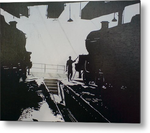 Steam Trains Metal Print featuring the drawing Maintenance Sheds Holbeck Leeds by Andy Davis