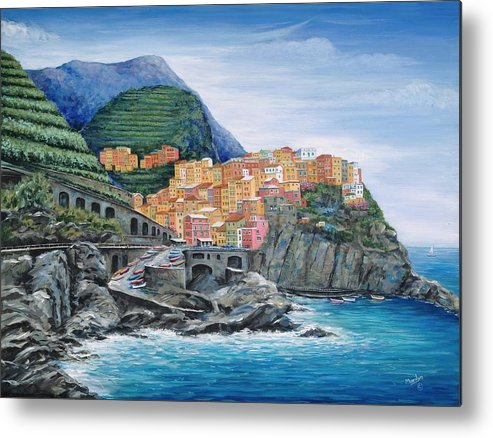 Europe Metal Print featuring the painting Manarola Cinque Terre Italy by Marilyn Dunlap