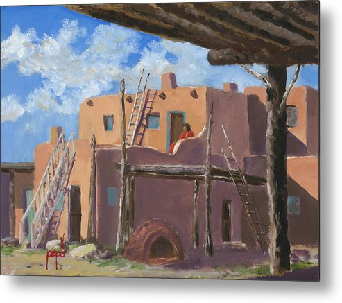 Taos Metal Print featuring the painting Manuelito's Apartment by Ken Pieper