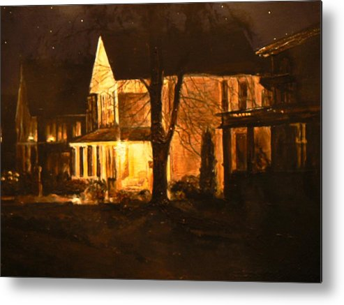 Night Scene Metal Print featuring the painting Maple Avenue Nocturne by Thomas Akers