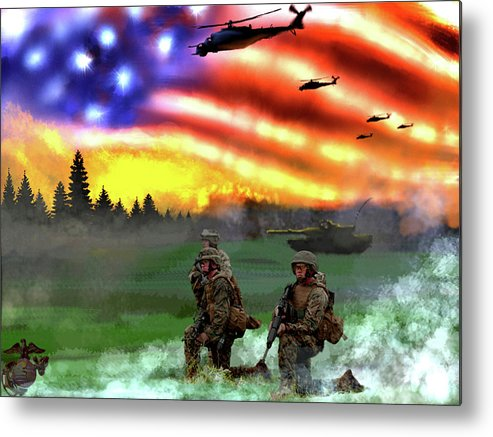 Marines Metal Print featuring the digital art Marines by Josh Burns