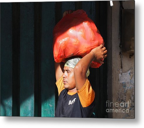 Man Metal Print featuring the photograph Market Trader In Bali by Ronald Rockman
