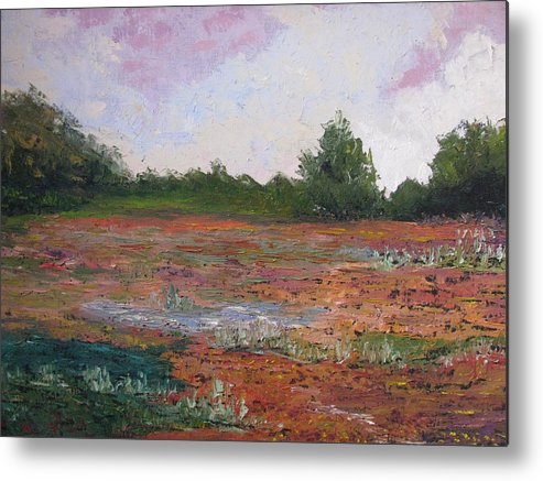 Landscape Metal Print featuring the painting Meadow Creek - Late Summer by Belinda Consten