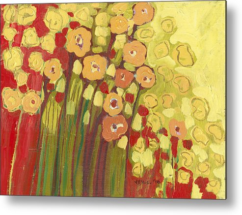 Floral Metal Print featuring the painting Meadow In Bloom by Jennifer Lommers