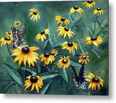 Butterflies Metal Print featuring the painting Meeting Place by Julie Pflanzer