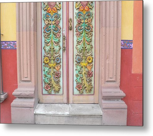 Flowers Metal Print featuring the photograph Mexican Doorway 3 by Francine Gourguechon