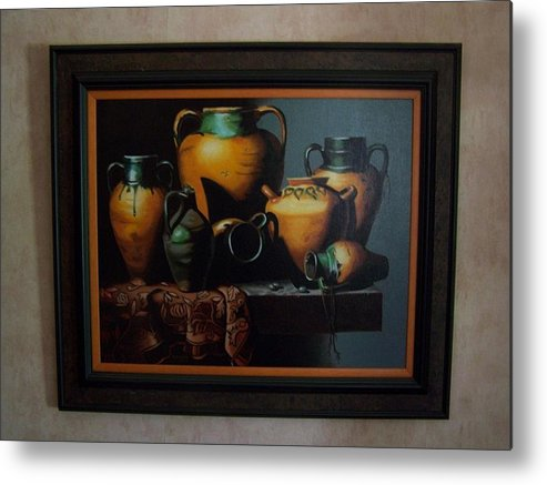 Stilllife Painting Metal Print featuring the painting Mexican Pottery by Robert E Gebler