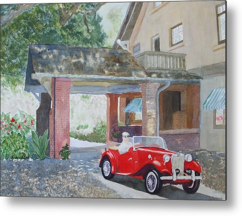 Mg Metal Print featuring the painting Mg At Marston House by Ally Benbrook