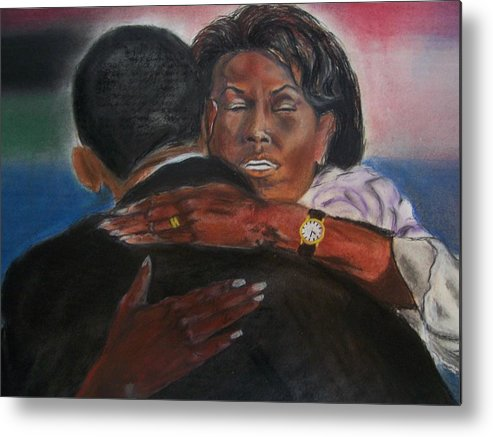 Barack Obama Metal Print featuring the painting Michele by Darryl Hines