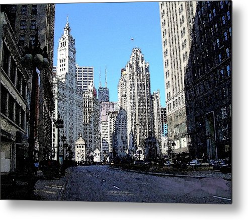 Chicago Metal Print featuring the digital art Michigan Ave Wide by Anita Burgermeister
