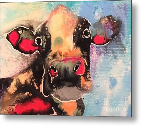 Cow Painting Metal Print featuring the painting Milk Made by Kasha Ritter