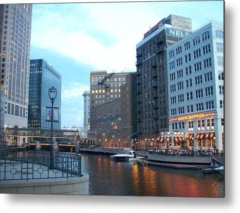 Milwaukee Metal Print featuring the photograph Milwaukee River Walk by Anita Burgermeister