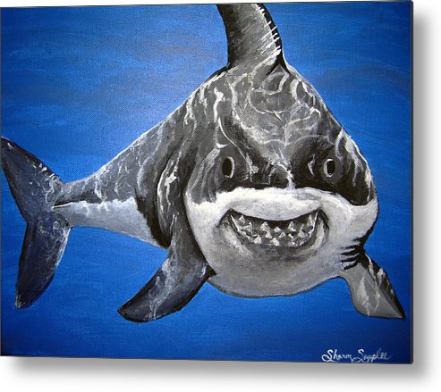 Shark Metal Print featuring the painting Mischief by Sharon Supplee