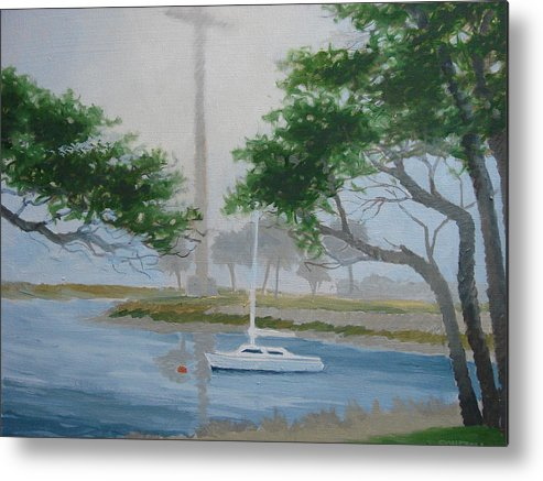Fog Metal Print featuring the painting Mission In Fog by Robert Rohrich