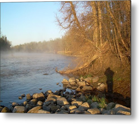 Mississippi River Metal Print featuring the photograph Mississippi River Shades Of Fog by Kent Lorentzen