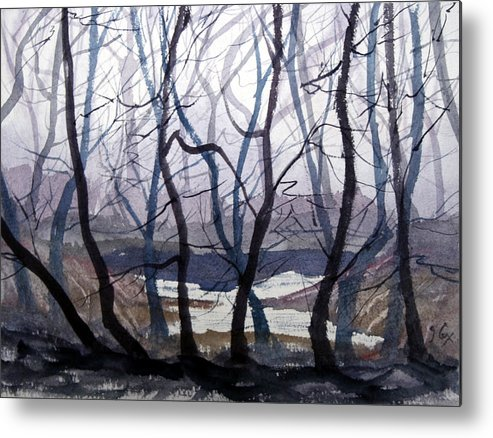 Landscape. Mist. Trees. Atmosphere. Metal Print featuring the painting Misty Morning by John Cox