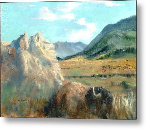 Bison Metal Print featuring the painting Monarch Of Yellowstone by Bryan Alexander