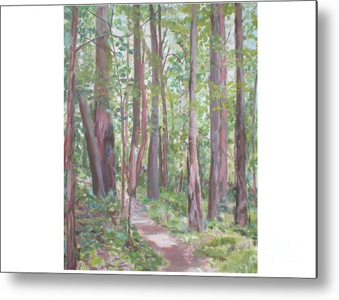 Pathway Metal Print featuring the painting Moon Lake Pathway by Hal Newhouser