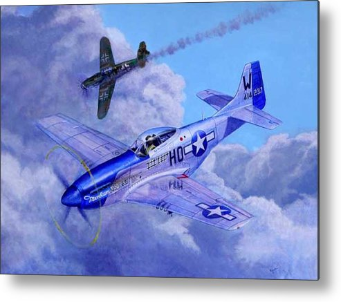 Capt Bill Wisner Shoots Down Two Bf-109s On November 2nd 1944 Metal Print featuring the painting Moonbeam Mcswine by Scott Robertson