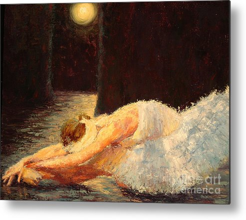 Ballerina (framed) Metal Print featuring the painting Moonlight Ballet by Colleen Murphy