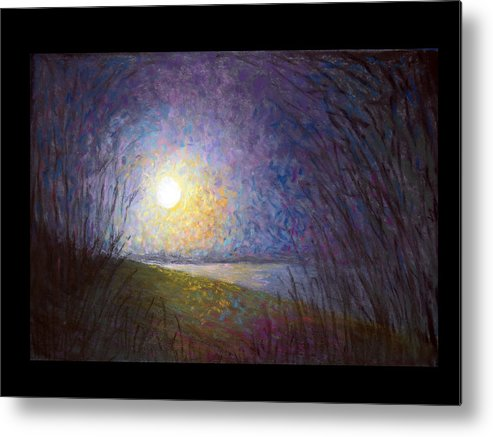 Landscape Metal Print featuring the painting Moonlight Lake by Susan Jenkins