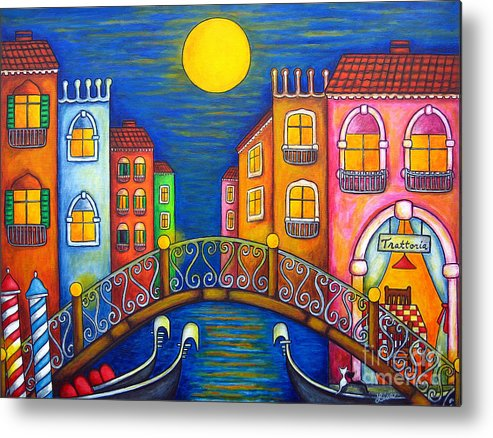 Venice Metal Print featuring the painting Moonlit Venice by Lisa Lorenz