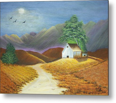 Meadow Metal Print featuring the painting Moonlite Evening by Vicki Berchtold
