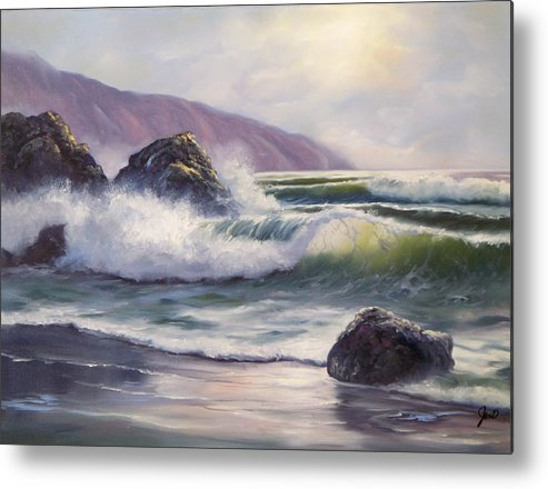 Ocean Metal Print featuring the painting Morning Calm by Joni McPherson