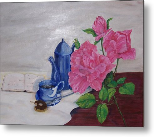 Still Life Metal Print featuring the painting Morning Coffee by Penny Everhart