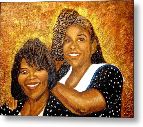 Portrait Metal Print featuring the painting Mother Daughter Friend by Keenya Woods