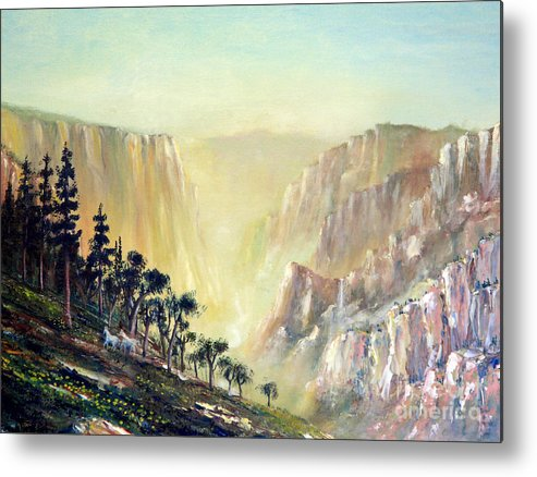 Mountain Metal Print featuring the painting Mountain Of The Horses 1989 by Wingsdomain Art and Photography