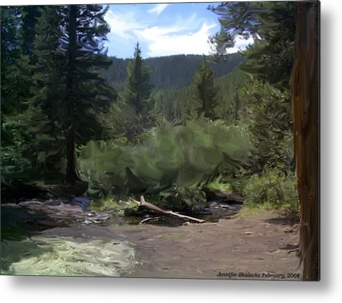 Mountain Stream Metal Print featuring the digital art Mountain Stream by Jennifer Skalecke