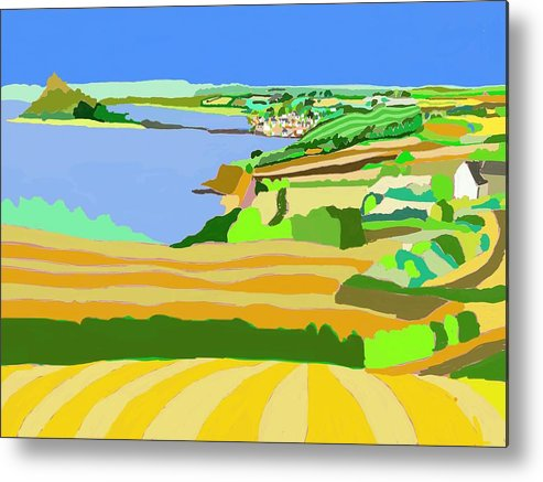 Mounts Bay Metal Print featuring the digital art Mounts Bay Cornwall by Kevin Collins