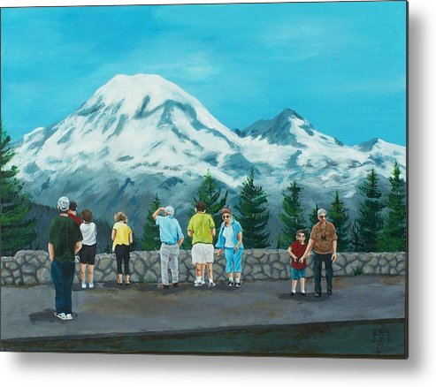 Landscape Metal Print featuring the painting Mt. Rainier Tourists by Gene Ritchhart
