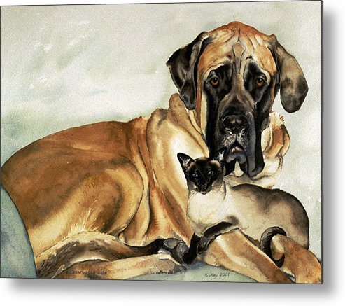 Portrait Metal Print featuring the painting Murphy And Cody by Eileen Hale