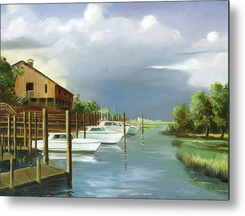 Murrells Inlet Metal Print featuring the painting Murrells Inlet South Carolina by Jim Horton