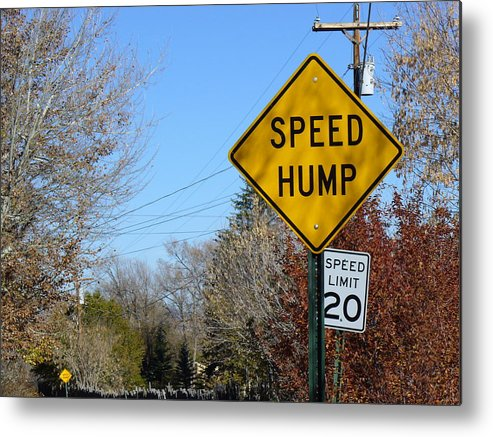 Road Sign Metal Print featuring the photograph Must Be Wednesday by Brenda Pressnall