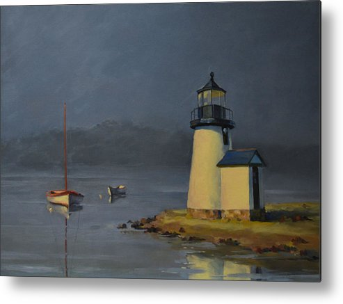 Mystic Painting Metal Print featuring the painting Mystic Lighthouse by Rich Alexander