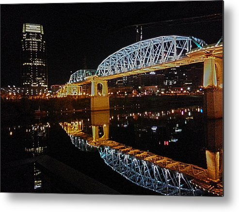 Metal Print featuring the photograph Nashville Bridge by Thomas Ford