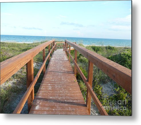 Boardwalk Metal Print featuring the photograph Nc Beach Boardwalk by Barb Montanye Meseroll