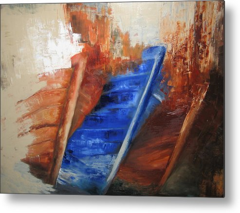 Boats Metal Print featuring the painting 'near The Shore' by Marina Harris