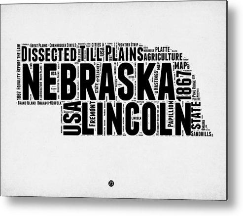 Nebraska Metal Print featuring the digital art Nebraska Word Cloud 2 by Naxart Studio