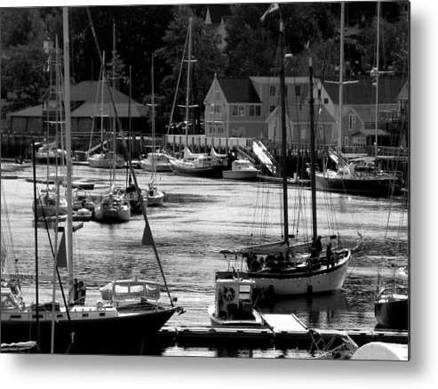 Boats Metal Print featuring the digital art New England Seaside by Donna Thomas